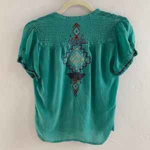 Johnny Was Tops - Johnny Was Blue Embroidered Blouse XS